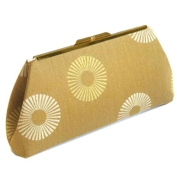 Gold Sun Rays Clutch Purse Handbag - Cream Silk Lining - Made to Order by UPSTYLE