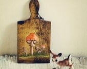 Sweet Hand Painted Vintage Mushroom Cutting Board