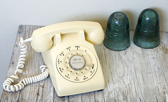 Sweet Butter Yellow Rotary Dial Phone