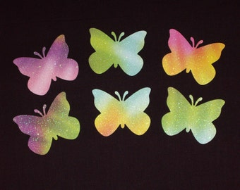 Glittered Tie Dye Large Butterfly Die Cut Punch Cardstock Embellishments