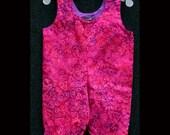 Pink Hearts Batik Overalls  --  3 months, 18 months, 24 months