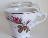 Porcelain Vintage Cups With Floral Design and Scalloped Base