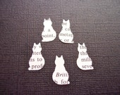 Paper Cats Created From Vintage Dictionary Pages Scrapbooking Crafting Confetti Table Party Decor
