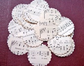 Scalloped Circles Confetti Vintage Sheet Music Hymnal Circa Early 1900s Paper Crafts  Embellishment Envelope Seals Wedding Banners Scrapbook