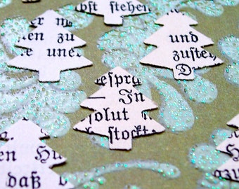 Christmas Tree Paper Punches Confetti Paper Crafting Embellishments German Calligraphy