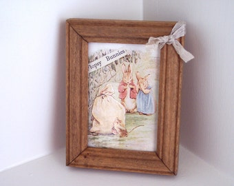 Framed Antique Beatrix Potter Illustrated Page From The Tale of Flopsy Bunnies Circa Early 1900s
