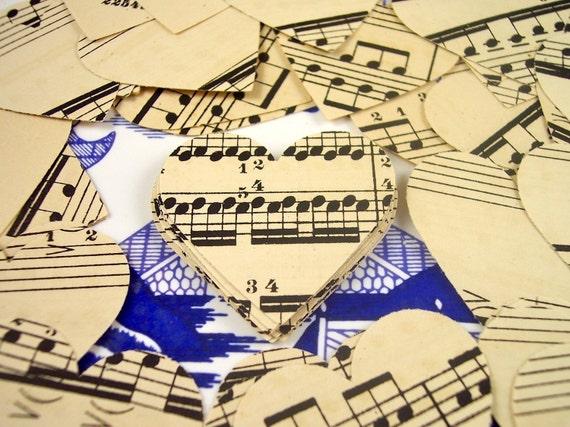 Vintage Sheet Music Hearts Wedding Valentine Paper Punch