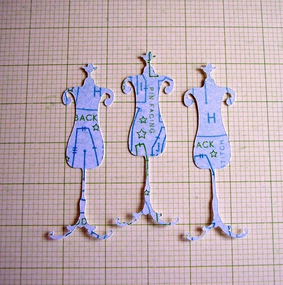 Set of 10 Dress Form Paper Scrapbooking and Craft Die Cut Embellishments