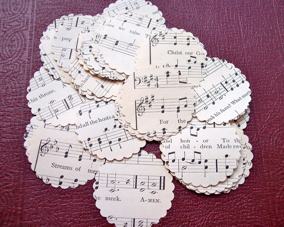 Scalloped Circles Vintage Hymnal Circa Early 1900s Paper Crafts  Embellishment Confetti  Envelope Seals Wedding Banners