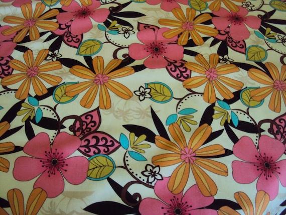 Michael Miller floral Charm retro design flowers fabric Pink  Brown Melon Aqua