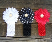 CLEARANCE - 3 sets of Crochet Headbands with 3 Gerber Flower Clips - Black Polka-Dot, White, Red - 4 inches