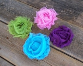 CLEARENCE - Set of 4 Beautiful Flower Clips - 2.5 inches -   Pink, Purple, Teal, and Lime