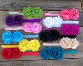 Headbands with  Fabric Flower Clips - 12 Month through Tween - Everything in Photo - 12 sets - Great Baby Gift