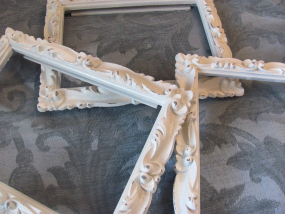 Set 3 Vintage Ornate White Picture Frames, Cottage Chic, Gallery Collection