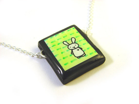 Lime Green Bunny Necklace