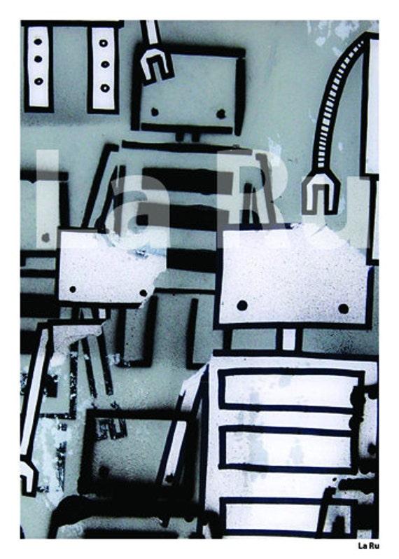 Graffiti Robot 5x7 Print