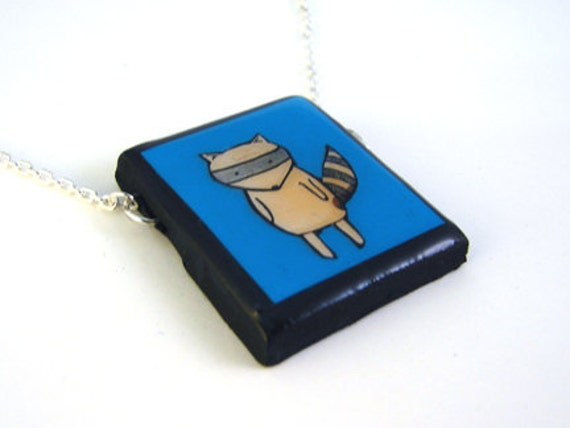 Blue Raccoon Necklace