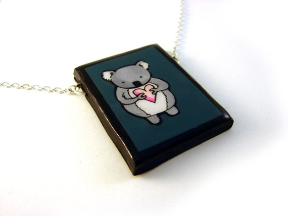 Large Dark Teal Koala Necklace