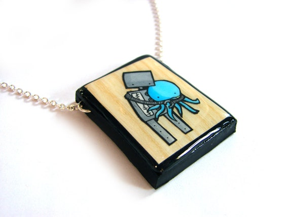 Faux Wood Robot Loves Octopus Necklace