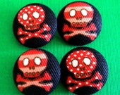 Funky Red Polka Dots and Strips Pirates Skull Fabric Sewing Button - Set of 4