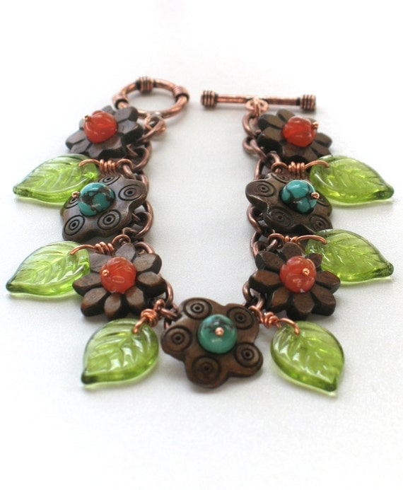 Copper Charm Bracelet with Turquoise, Carnelian, Bone, and Czech Glass - Dryades