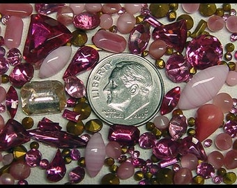 MXP More than 100 Assorted Rose Pink Rhinestones Variety of Shapes and Sizes