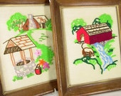 2 Vintage 1970's Framed Pictures - Embroidered Country Scenes - Wishing Well and Covered Bridge