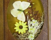 Vintage 1970's Yellow Butterfly and Flowers Wood Shadow Box Picture