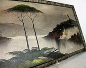 Framed Dark Oriental Asian Water Scene with Tree and Monastary