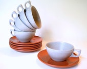 Vintage 1950's Melamine Cups and Saucers, Color Flyte Copper Glow and Mist Gray, Set of 6