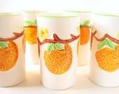 Vintage Juice Drinking Glasses National Pottery Co Orange Blossom Set of 5