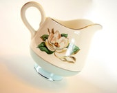 Vintage Aqua Creamer LTC12 by LIFETIME CHINA  Footed Creamer with Magnolia