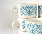Mod Turquoise Flowered Diner Cups Stackable Vintage Retro Dishes Set of 8