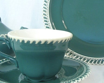 Retro Dishes - Vintage Harker CORINTHIAN Teal Pate Sur Pate China Dinnerware, 25 Pieces