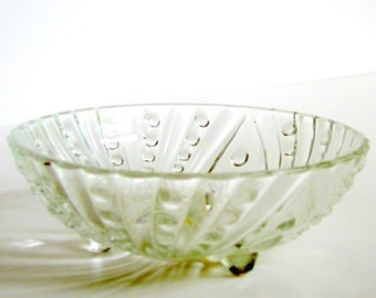 3 Vintage 1950's Anchor Hocking Clear Burple Glass Berry Bowls