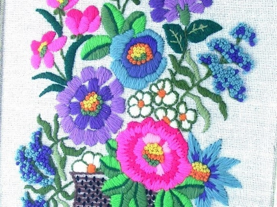 1970s Embroidered Picture Vintage Framed Crewel Floral Picture in Hot Pink Purple and Blue