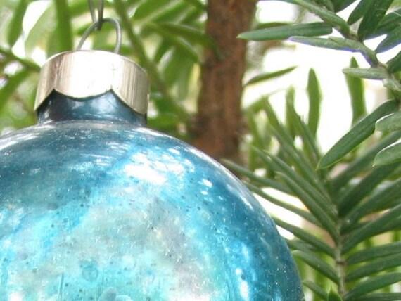 Christmas Ornament Peacock Blue Vintage U.S.A  Bulb
