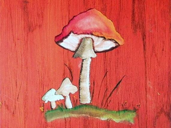 Vintage 1970's Hand Painted Funky Fungi Mushroom Art Plaque Picture