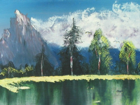 Vintage 1980's Mountain Landscape Painting - Signed Blue and Green Mountain Lake Scene, Unframed Acrylic Painting