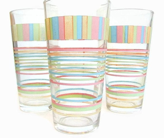 Vintage Dishes Drinking Water Glasses with Multicolor Blocks and Circles Set of 3