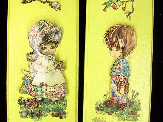 Vintage 1970's 3D Art - Americana Boy and Girl Nursery Art Yellow Plaques / Pictures