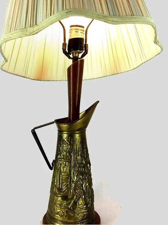 Vintage Mid Century Brass Pitcher Table Lamp with Shade