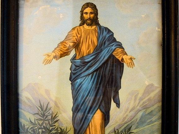 Vintage Jesus Picture Come Unto Me By Hofmann 1940s Framed