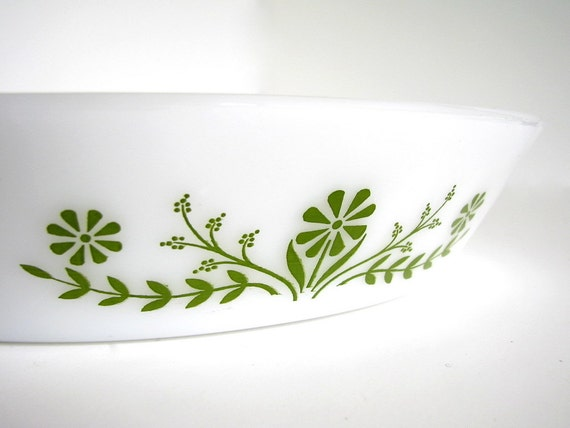Vintage Glasbake Divided Oval Casserole Dish - White and Green Floral Glass Bakeware Pan