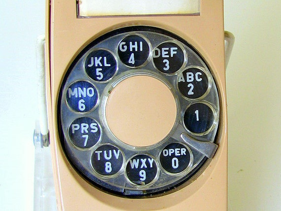 RESERVED FOR SAGE until 8/17 Vintage 1970's Tan Trimline Rotary Dial Telephone