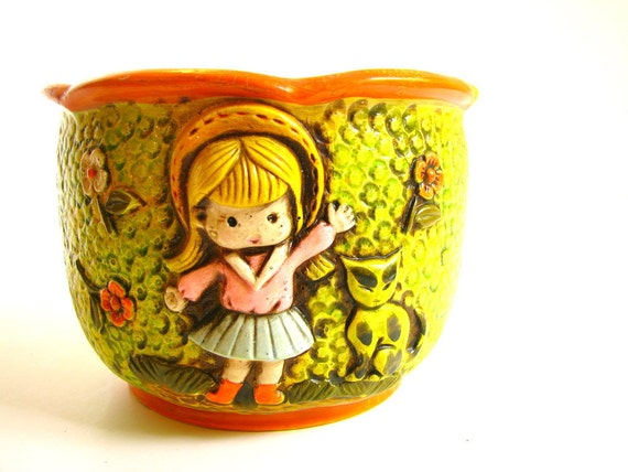 Flower Pot Vintage 1970s Girl and Cat Ceramics