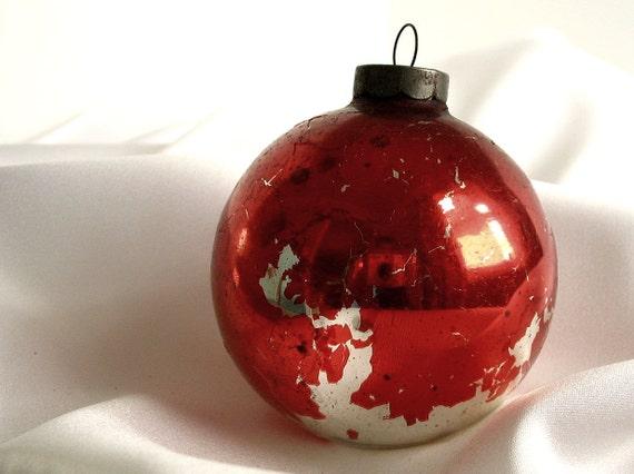 Vintage Large Dark Red Christmas Ornament