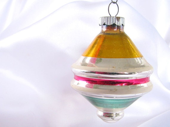 Vintage Large Shiny Brite Striped Top Christmas Ornament