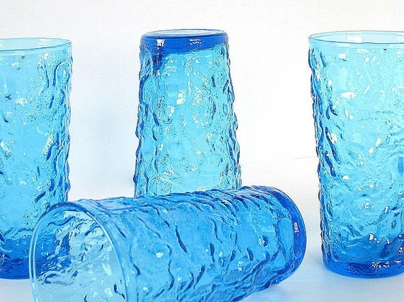 Retro Dishes Glassware Bumpy Blue Vintage Drinking Glasses Water Tumblers Set of 4