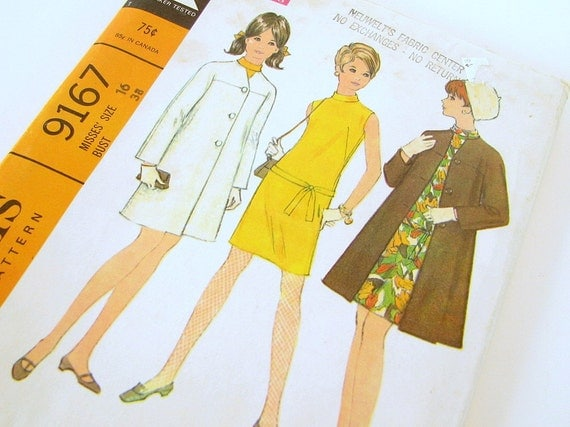 UNCUT 1968 Dress and Coat Sewing Pattern Vintage McCall's 9167  Bust 38 Inches